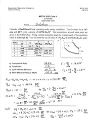 MECH 3020 Fall 2013 Quiz 3 Solution