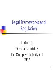 Lecture 09 - Occupiers Liability.ppt