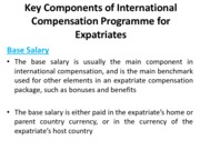 Key Components of International Compensation Programme for Expatriates(Assignment)