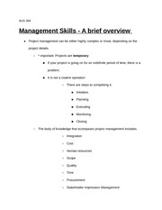 BUS 368 Management Skills - What is Project Management