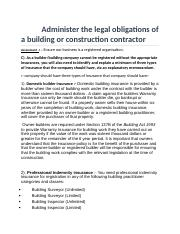 Administer the legal obligations of a building or construction contractor harjeet 5007b.docx
