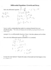 Differential Equation Growth and Decay Notes