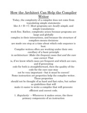 How the Architect Can Help the Compiler Writer