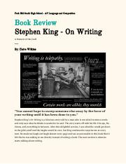 Book Review Stephen King On Writing Pdf Park Hill South
