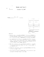 Math 122 Test 2 Fall 2007 Answers