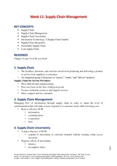 Week 11 - Supply Chain Management