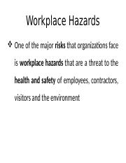 3 (a). CLASSIFICATION OF OCCUPATIONAL HAZARDS