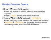 Materials Selection Laboratory