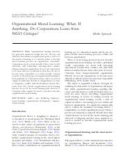 Spitzeck (JOBE_ 2009) - Organizational Moral Learning