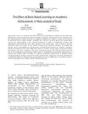 The Effect of Brain Based Learning on Academic Achievement A Meta-analytical Study.docx