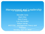 Management and Leadership - Leveraging Leadership to Maximize Business Success