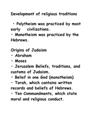 World History 1- Development of religious traditions