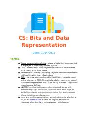 Bit and Data Representation