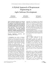 A Hybrid Approach of Requirement Engineering in Agile Software Development