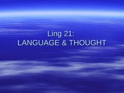Ling 21 - lecture 2