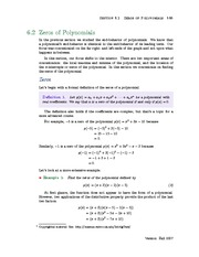 Section 2: Zeros of Polynomials