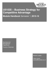 Business Strategy for Competitive Advantage U51035