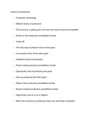 Notes on Factors of production