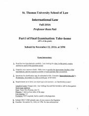 St Thomas 2016 - 2017 International Law - Final Examination