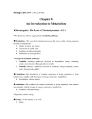 Biology 1201-Chapter 8-An Introduction to Metabolism