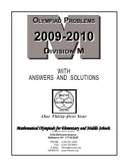 M Booklet 09-10 pdf - OLYMPIAD PROBLEMS 2009-2010 D DIVISION IVISION