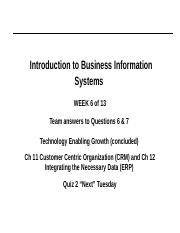 Week 6 Winter 2018 ppt - Introduction to Business Information