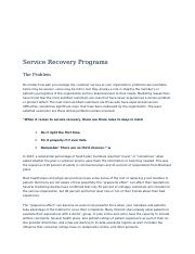 Service Recovery Programs