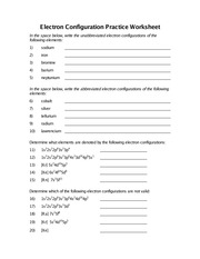 Printables Electron Configuration Worksheet electron configuration worksheet practice worksheet