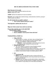 HIST OF AMERICAN MEDICINE FINAL STUDY GUIDE