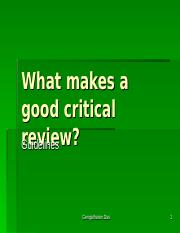 What makes a good critical review.ppt