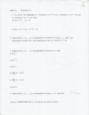 Worksheet 10-Sums, Dist. related to Normal