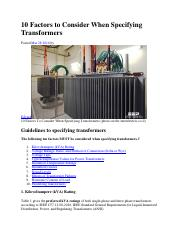 10 Factors to Consider When Specifying Transformers.pdf
