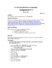 Introduction to Computing - CS101 Special 2006 Assignment 03.doc