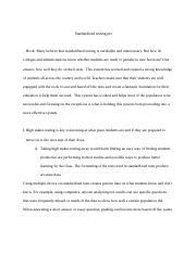 Argumentative Essay On Standardized Testing Free Essays