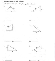 Geometry Right Triangles worksheet