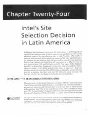 INTEL's Site Selection