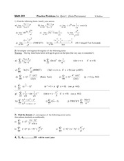 Math 201   Practice Problems for  Quiz I