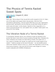 ENGR2100 The Physics of Tennis Racket Sweet Spots