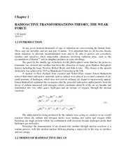 Radioactive Transformations Theory The Weak Force