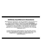 Shifting Equilibrium Reactions Defined