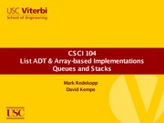 Lecture 6 - List ADT and Array-based Implementations (USC CSCI 104 - Data Structures, OOP)