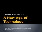 Lecture 15 - Industrial Revolution