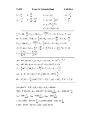 Exam IV formula sheet