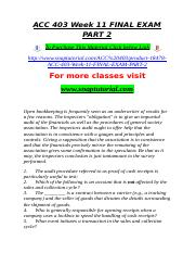 ACC 403 Week 11 FINAL EXAM PART 2.doc