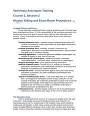 Veterinary Assistant Training-Course 1.2 - History Taking and Exam Room Procedures