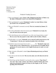 Elizabeth I Guided Questions