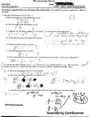 Intermediate Microeconomics Quizzes 1-8