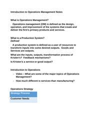 Introduction to Operations Management Notes