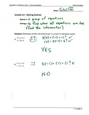 6.4 Solving Systems Assignment