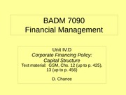 BADM 7090 IVD 2010 - Corporate Financing Policy (Capital Structure)